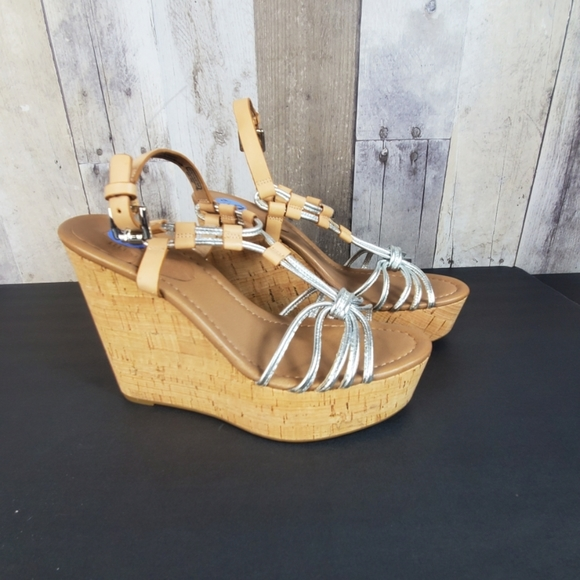Coach Shoes - Coach wedge heel sandals silver tan